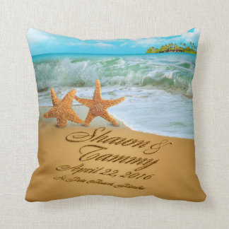 Starfish Couple ASK TO HAVE YOUR NAMES PUT IN SAND Throw Cushion
