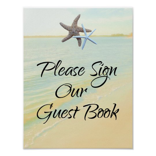Starfish Couple Beach Theme Guest Book Table Sign