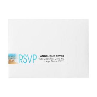 Starfish Couple Beach Wedding RSVP Wraparound Address Label
