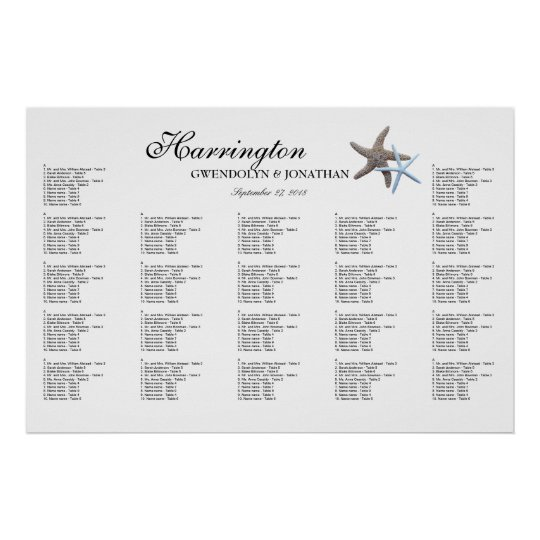 Starfish Couple Beach Wedding Seating Chart