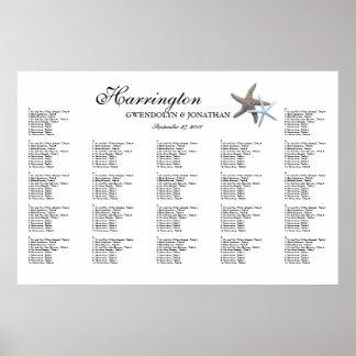 Starfish Couple Beach Wedding Seating Chart Poster