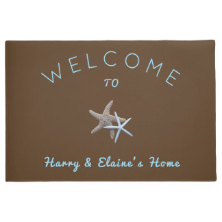 Starfish Couple Brown Welcome Door Mat