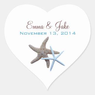 Starfish Couple Custom Heart-Shaped Label Heart Sticker