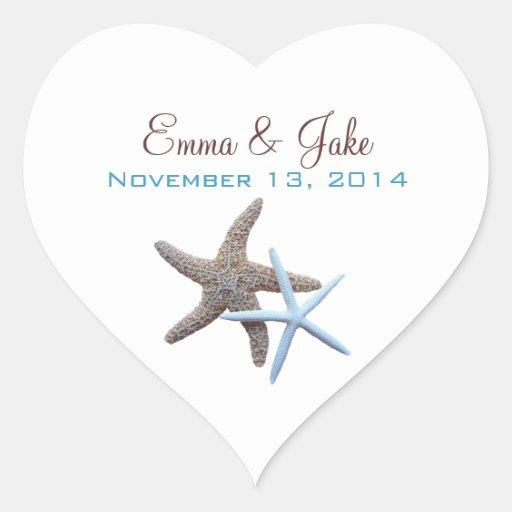 Starfish Couple Custom Heart-Shaped Label Heart Stickers