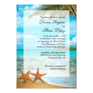 Starfish Couple Faux Vellum Overlay Embellishment 13 Cm X 18 Cm Invitation Card