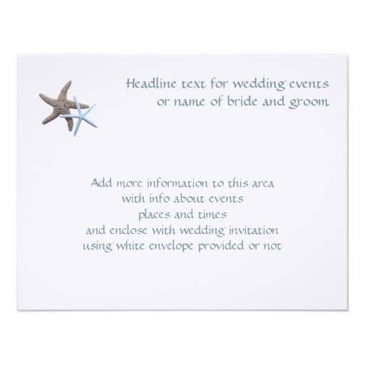 Starfish Couple Flat 4x5 Inch Enclosure Cards Custom Announcements