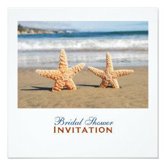 Starfish Couple On The Beach Bridal Shower 13 Cm X 13 Cm Square Invitation Card