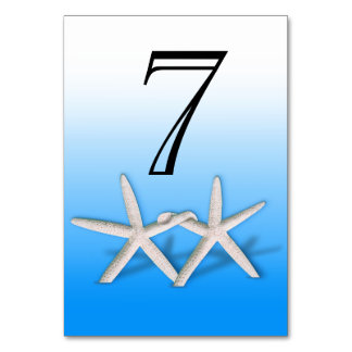 Starfish Couple On The Beach Numbers | ombre blue Table Card
