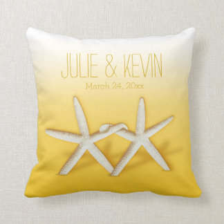 Starfish Couple On The Beach | ombre yellow Cushion