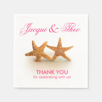 Starfish Couple on the Beach Party | fuchsia Paper Napkin