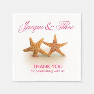 Starfish Couple on the Beach Party | fuchsia Paper Napkin