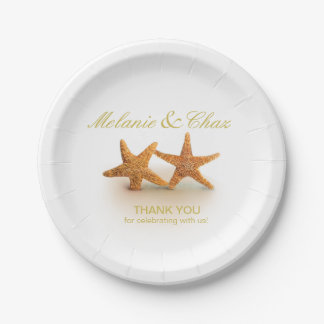 Starfish Couple on the Beach Party 7 Inch Paper Plate