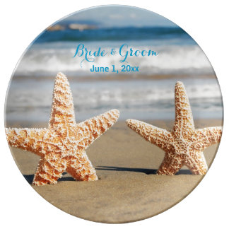 Starfish Couple on the Beach Porcelain Plate