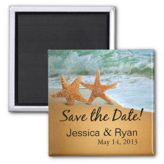Starfish Couple on the Beach Save the Date Square Magnet