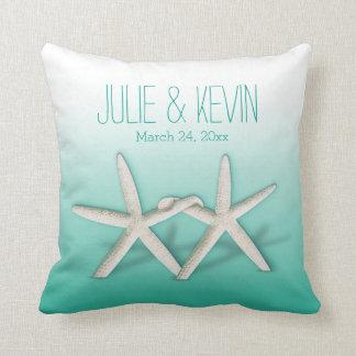 Starfish Couple On The Beach Signature ombre aqua Pillow