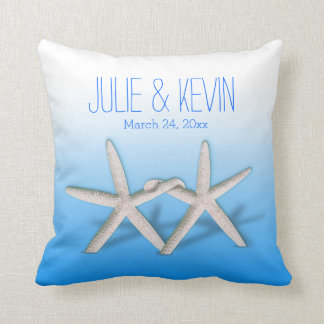 Starfish Couple On The Beach Signature ombre blue Cushions