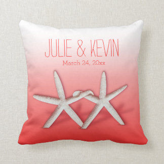 Starfish Couple On The Beach Signature ombre coral Cushion
