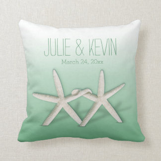 Starfish Couple On The Beach Signature ombre mint Throw Pillows