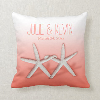 Starfish Couple On The Beach Signature ombre peach Pillow