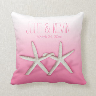 Starfish Couple On The Beach Signature ombre pink Throw Cushion