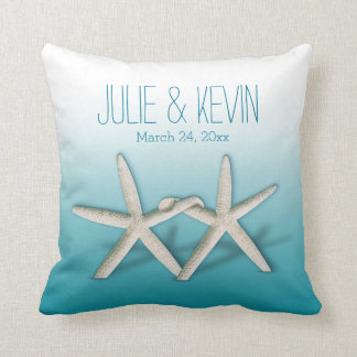Starfish Couple On The Beach Signature ombre teal Pillow