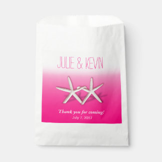 Starfish Couple On The Beach Wedding ombre fuchsia Favour Bags