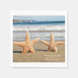 Starfish Couple on the Beach Wedding Paper Napkins