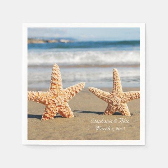 Starfish Couple on the Beach Wedding Paper Napkins Disposable Napkin