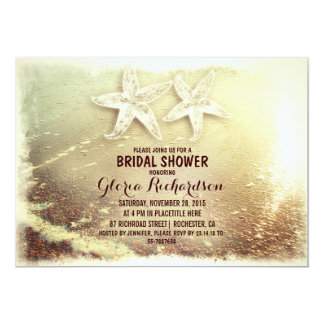 Starfish couple & sea foam beach bridal shower 5x7 paper invitation card