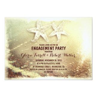 Starfish couple & sea foam beach engagement party 5x7 paper invitation card