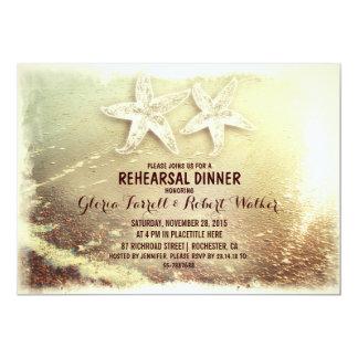 Starfish couple & sea foam beach rehearsal dinner 5x7 paper invitation card