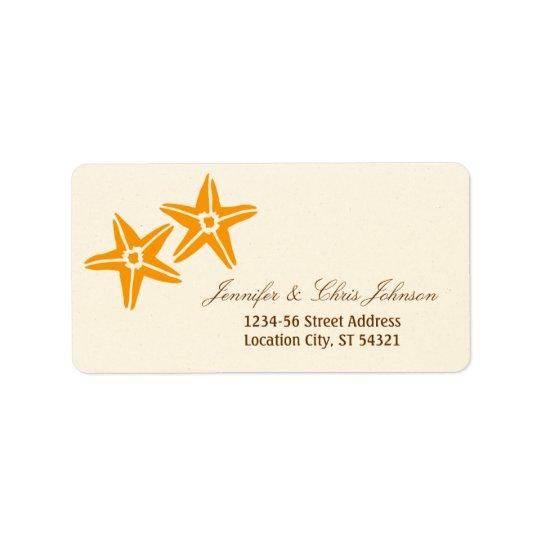 Starfish Couple Summer Beach Wedding Label