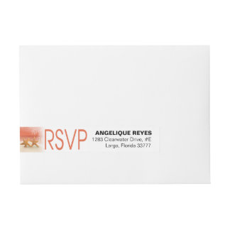 Starfish Couple Tropical Beach RSVP | coral Wraparound Address Label