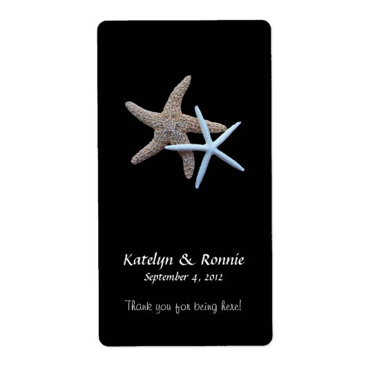 Starfish Couple Tropical Black Wine Labels