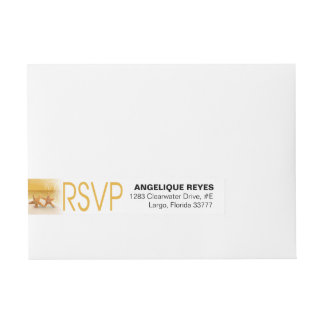 Starfish Couple Tropical RSVP | gold Wraparound Address Label