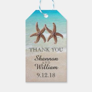 Starfish Couple Tropical Wedding Thank You Gift Tags