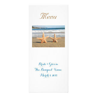 Starfish Couple Wedding Menu Rack Card