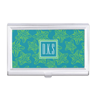 Starfish Crowd Pattern | Monogram Business Card Holder