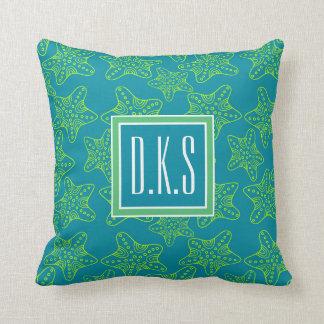 Starfish Crowd Pattern | Monogram Cushion