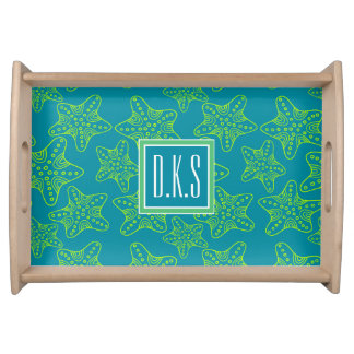 Starfish Crowd Pattern | Monogram Serving Tray