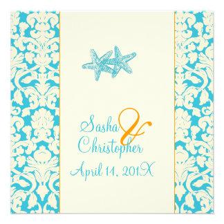 Starfish + damask aqua Wedding Invitations