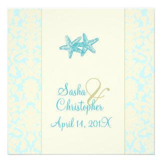 Starfish + damask Wedding Invitations
