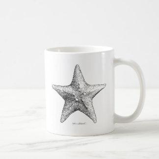 Starfish Drawing Ocean Beach Art Black & White Basic White Mug