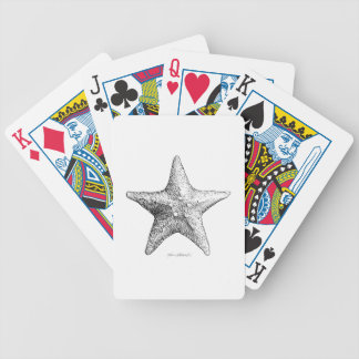 Starfish Drawing Ocean Beach Art Black & White Poker Deck
