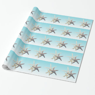 Starfish Family Light Blue Birthday Wrapping Paper