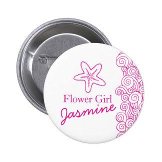 Starfish flower girl pink wedding pin / button