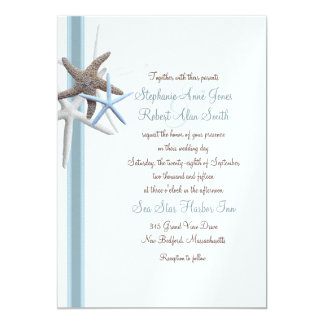 Starfish Gathering Couple Inviting Wedding Invite