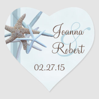 Starfish Gathering Heart Wedding Sticker