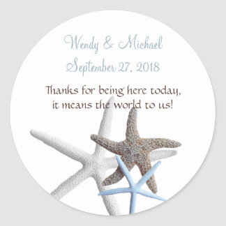 Starfish Gathering Round Wedding Favor Labels