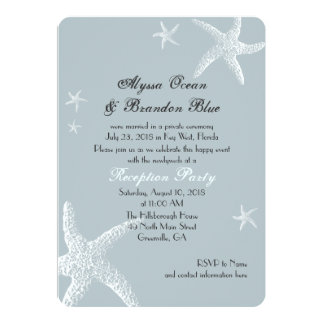 Starfish Gray Blue After the Wedding Celebration Card